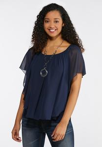 Plus Size Layered Sheer Capelet Top