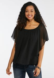 Plus Size Sheer Layered Capelet Top