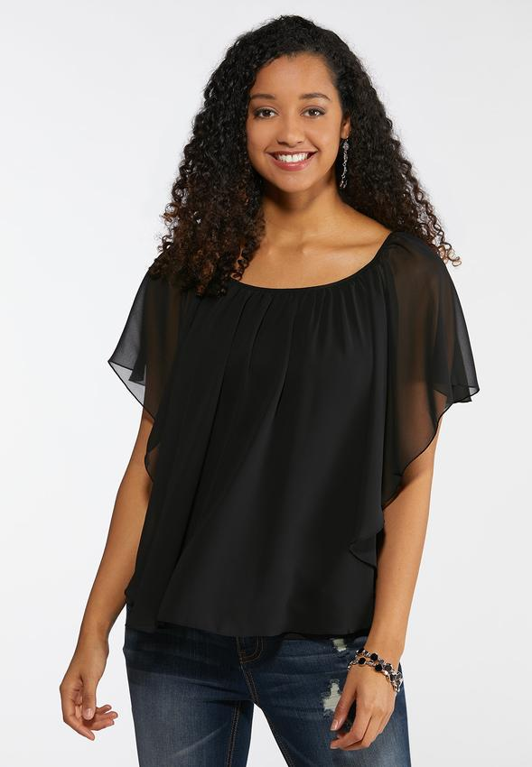f3112e8a6d7bb Plus Size Sheer Layered Capelet Top Tops Cato Fashions