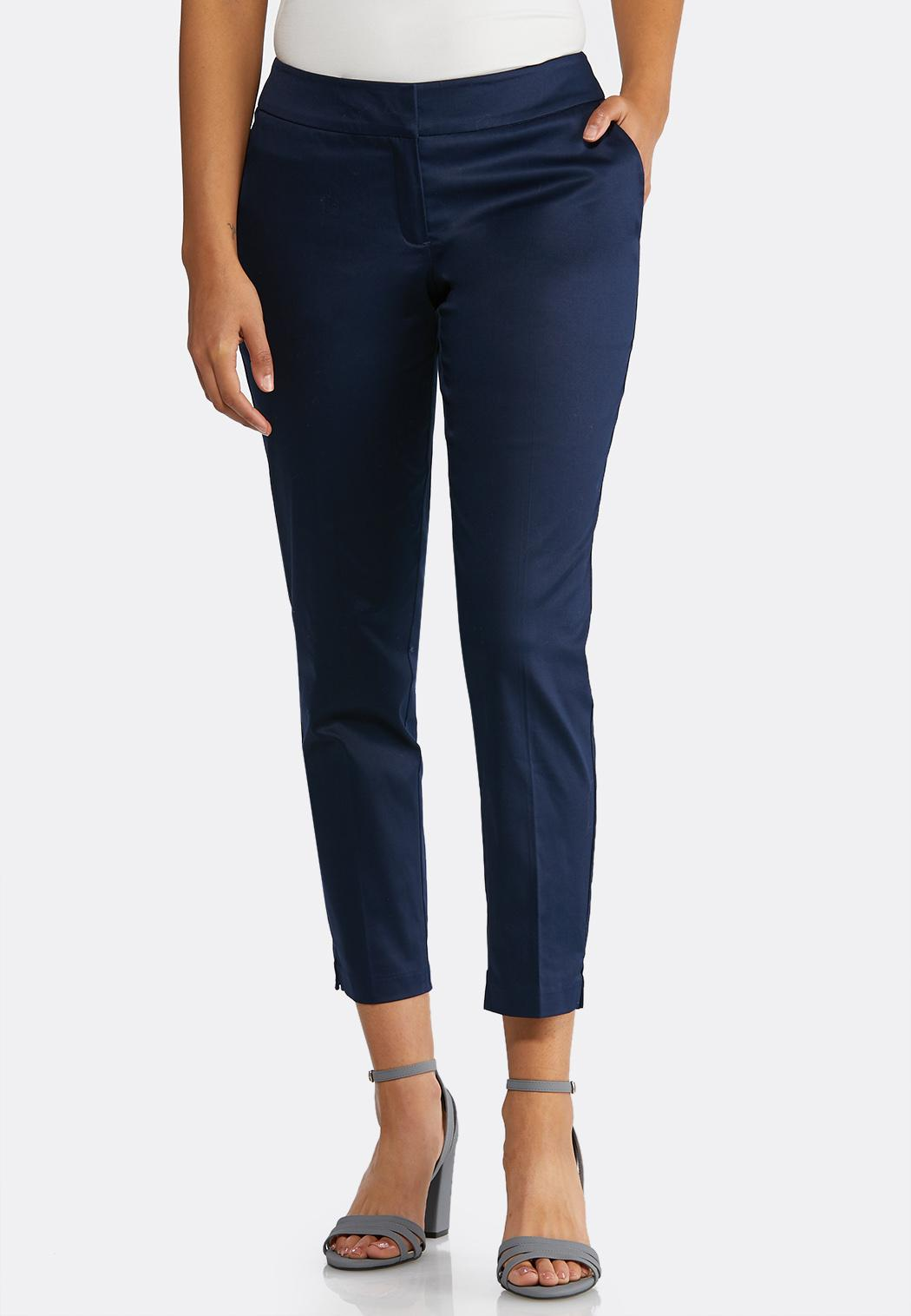 Solid Sateen Ankle Pants