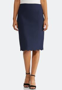 Scalloped Hem Pencil Skirt