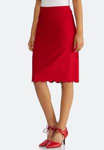Plus Size Scalloped Hem Pencil Skirt