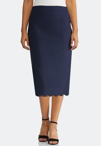 Plus Size Scalloped Hem Pencil Skirt