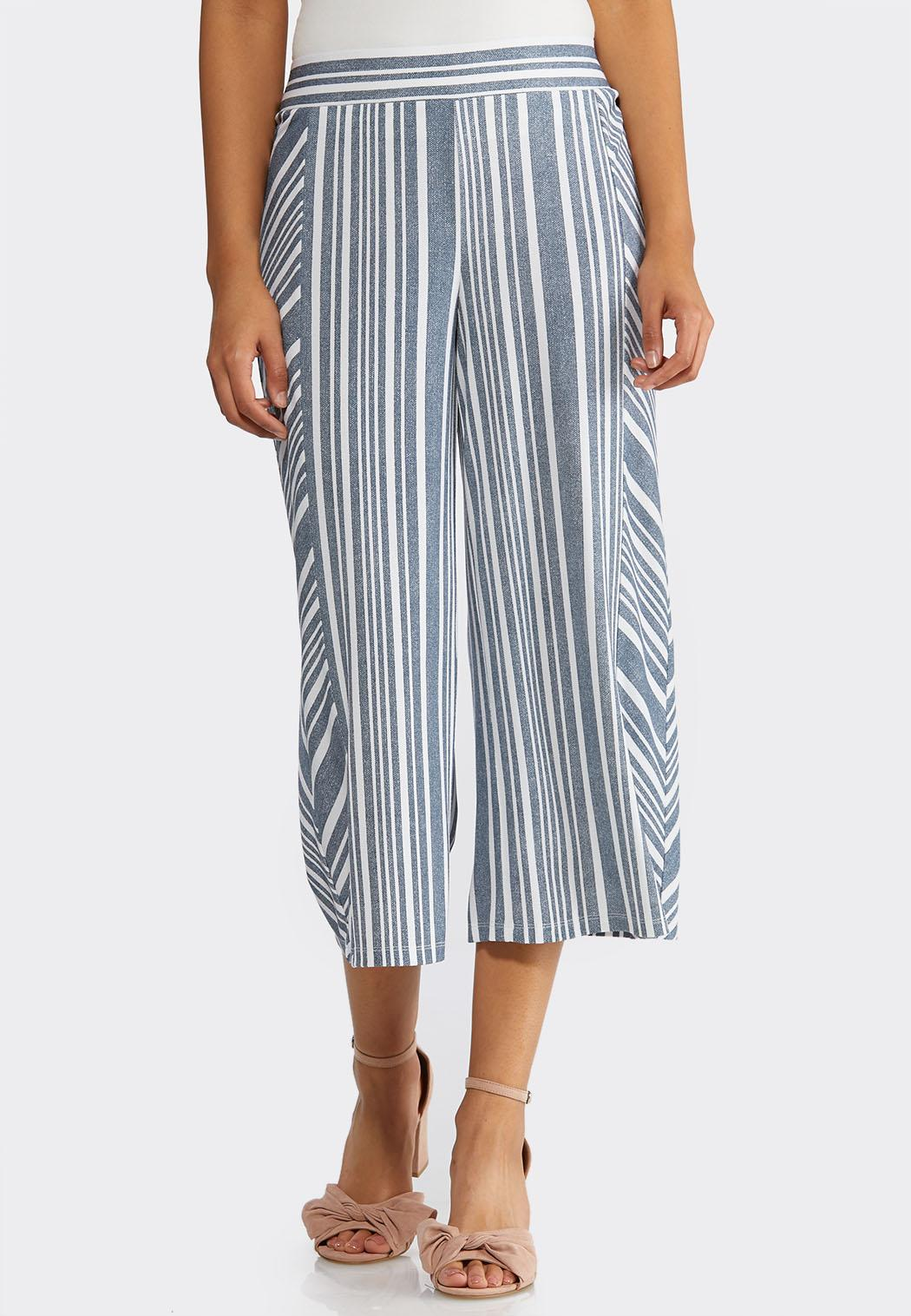 Cropped Wide Leg Stripe Pants
