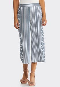 Cropped Wide Leg Stripe Pants