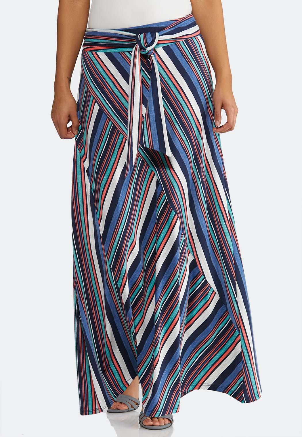 Plus Size Multi Stripe Tie Waist Maxi Skirt