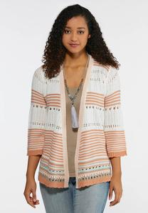 Plus Size Stripe Cardigan Sweater