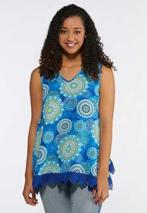 Medallion Lace Trim Tank