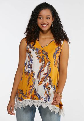 Plus Size Golden Paisley Lace Trim Tank