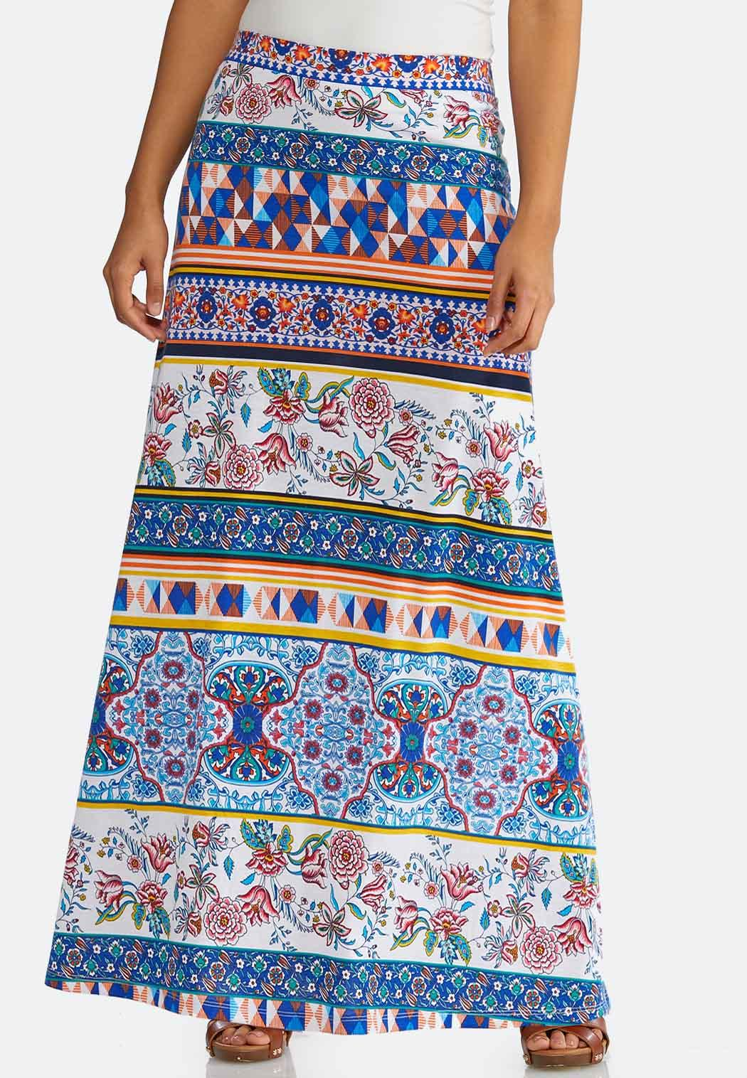 Geo Floral Maxi Skirt