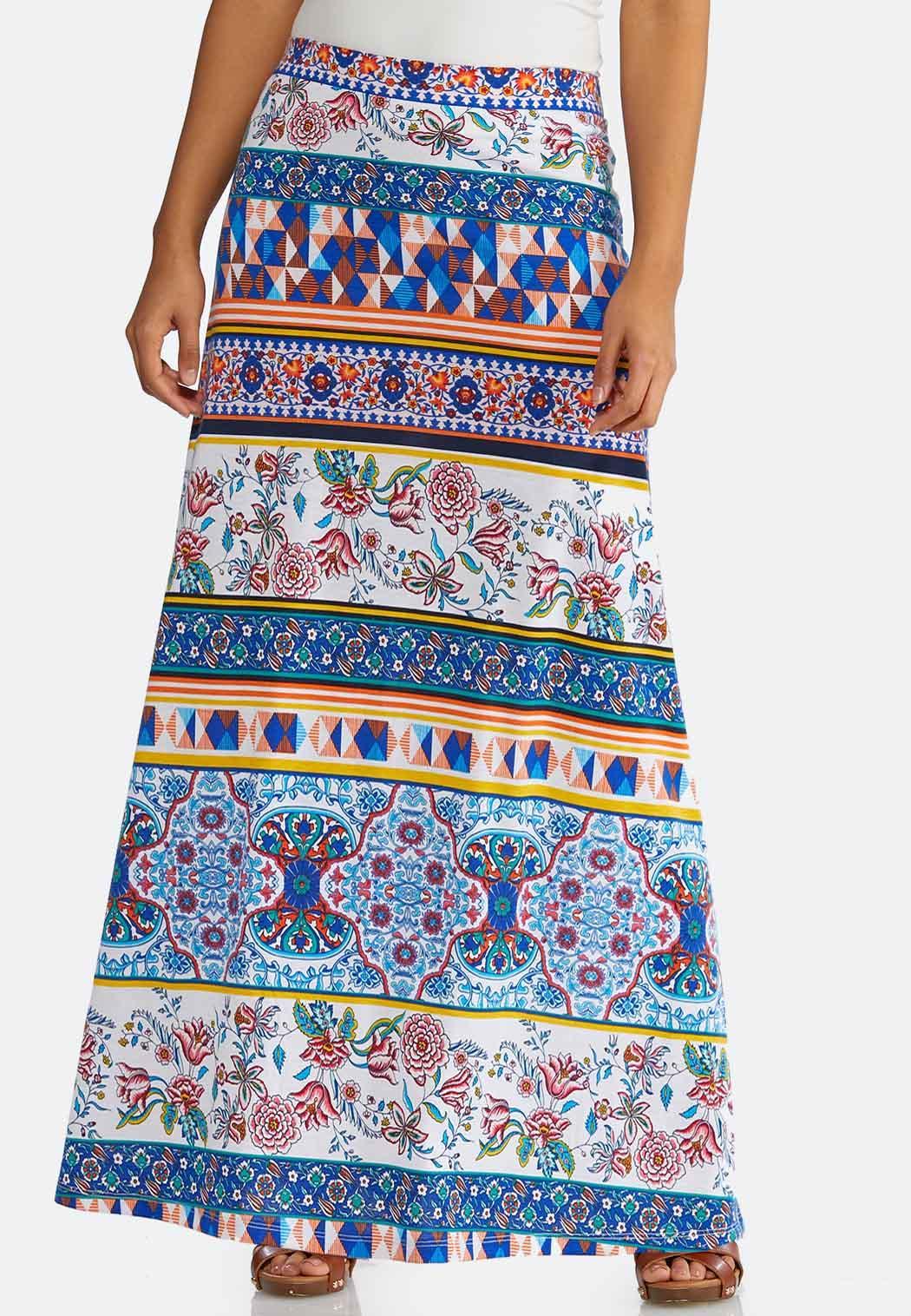 Plus Size Geo Floral Maxi Skirt