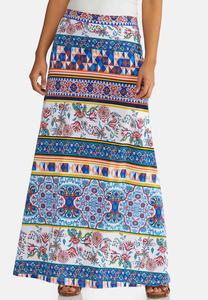 b99fab8fcc Plus Size Geo Floral Maxi Skirt