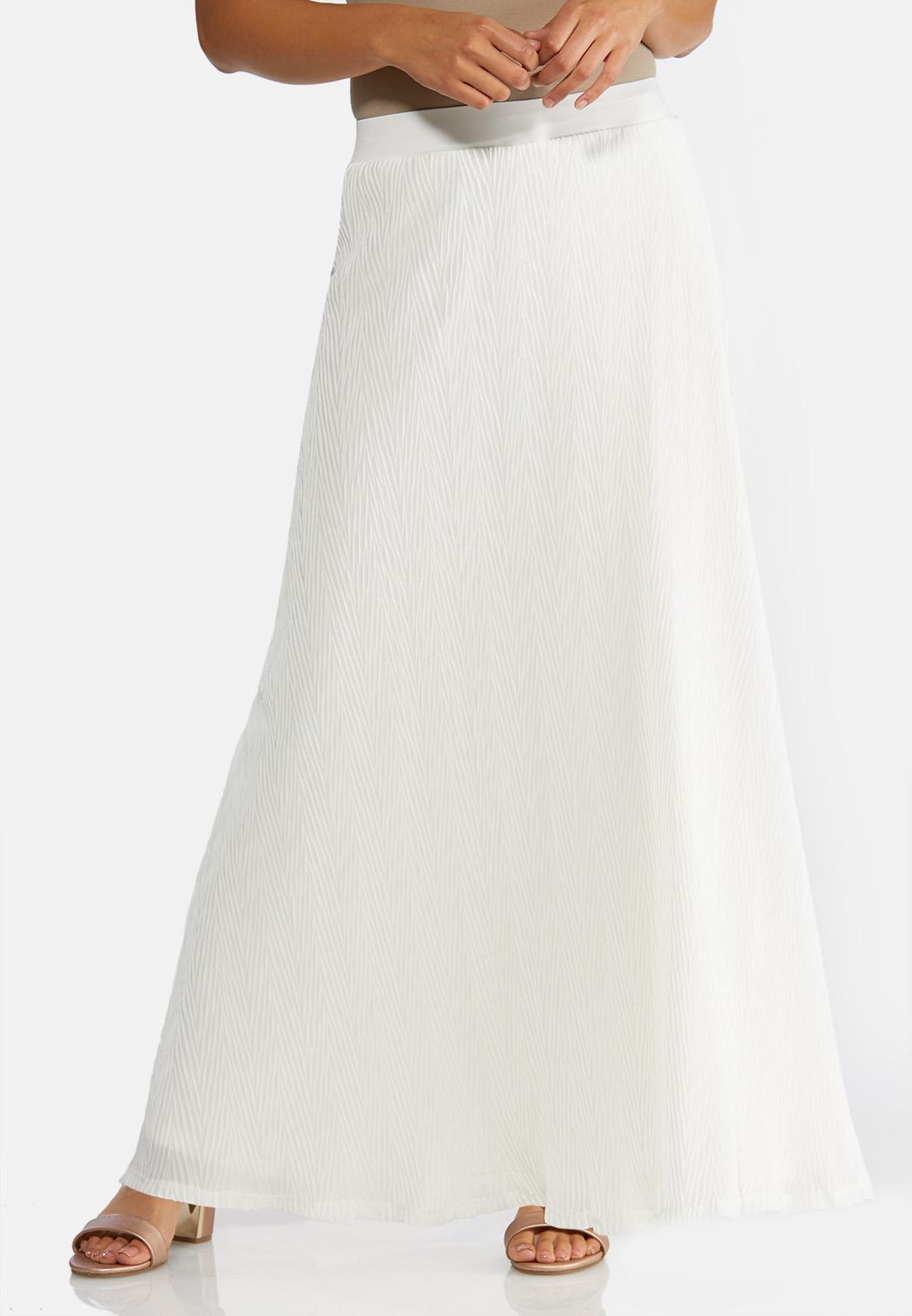 Plus Size Crinkled Ivory Maxi Skirt
