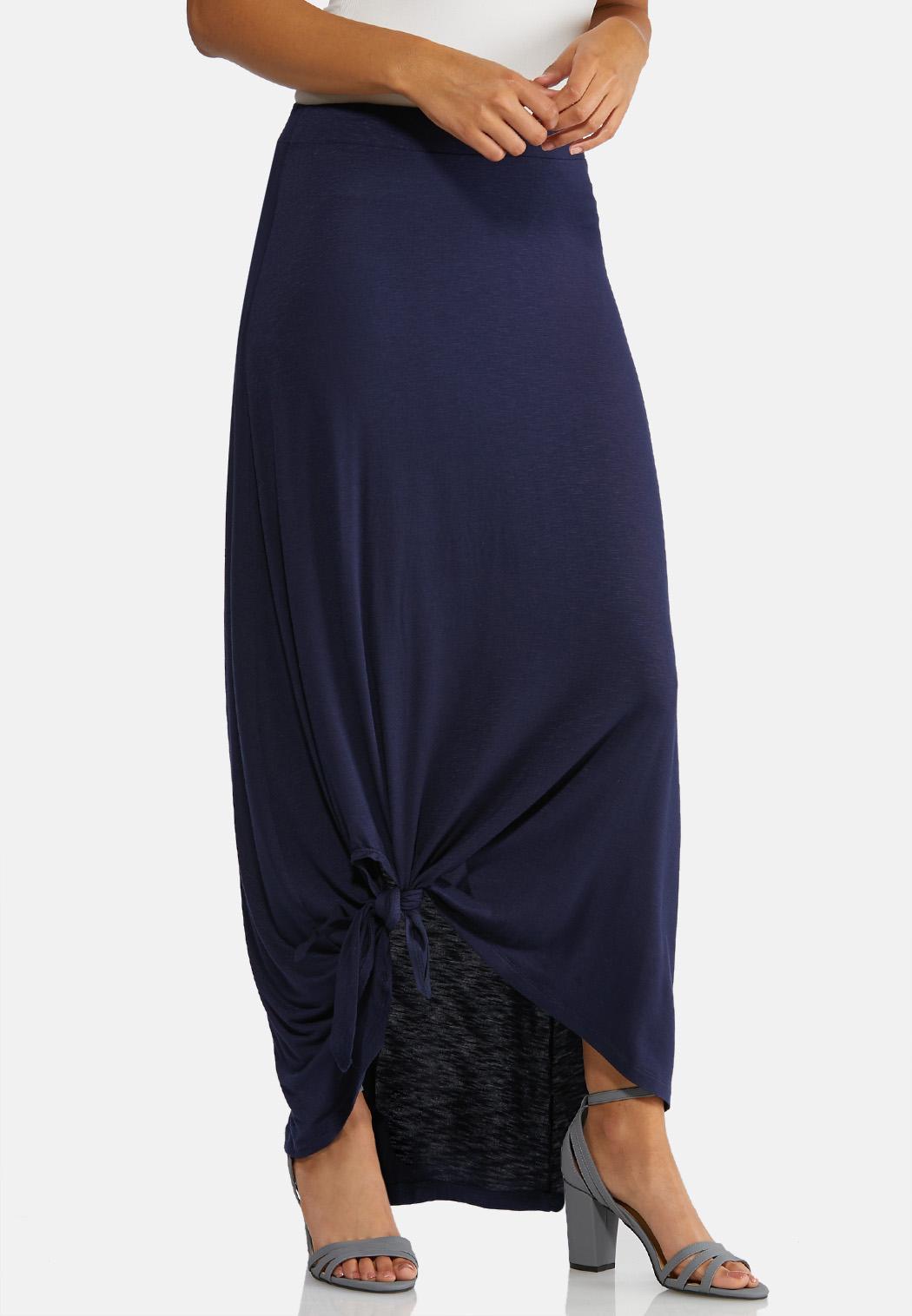 Knotted Hem Maxi Skirt