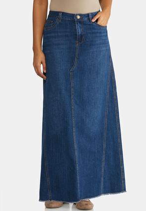 ba83d244a8 Frayed Denim Maxi Skirt Skirts Cato Fashions
