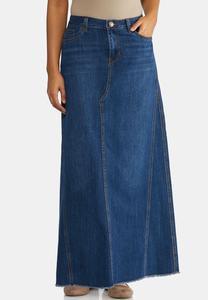 7b6eab0792e Frayed Denim Maxi Skirt