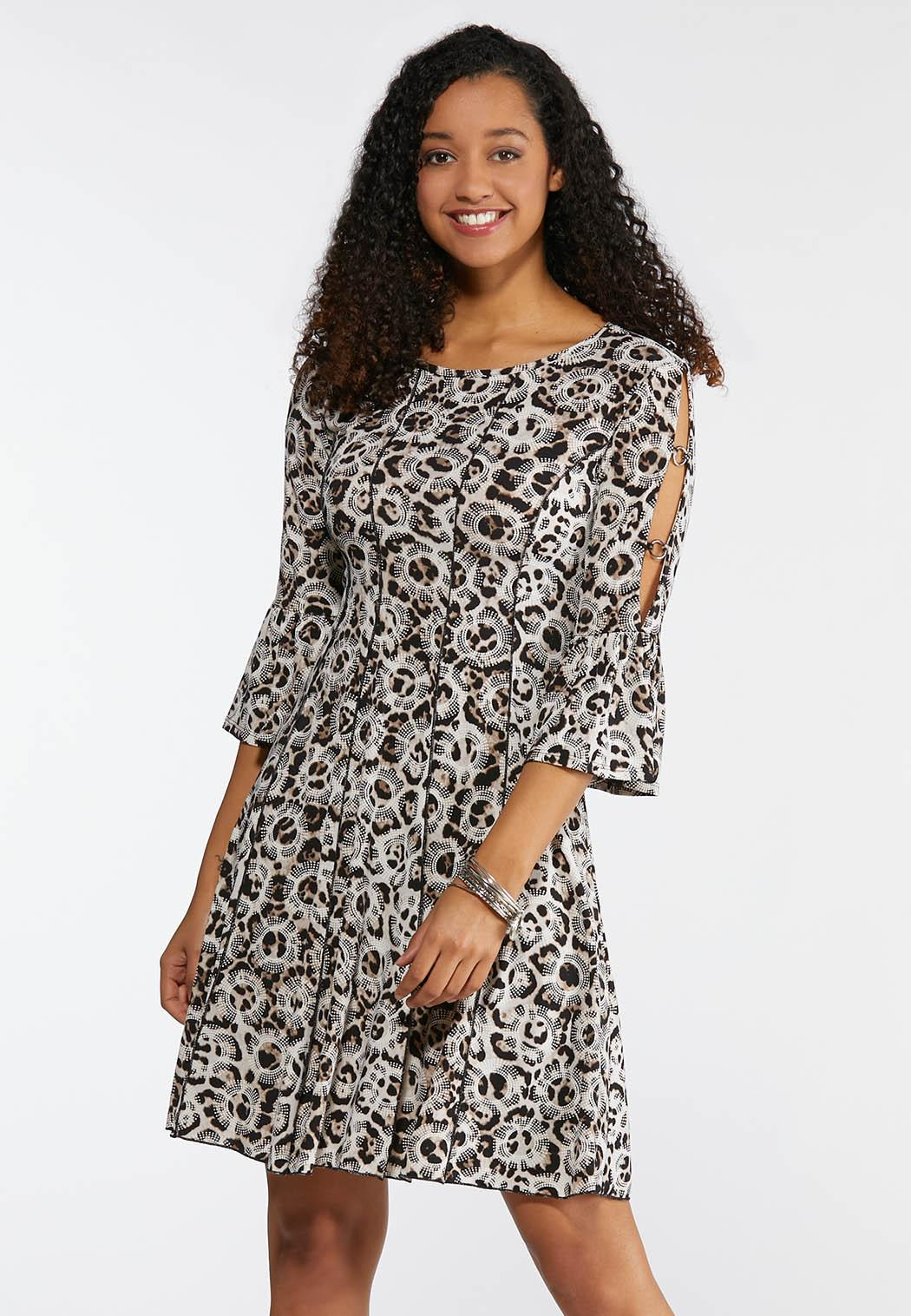 e8bf986995e Plus Size Embellished Animal Print Dress A-line   Swing Cato Fashions