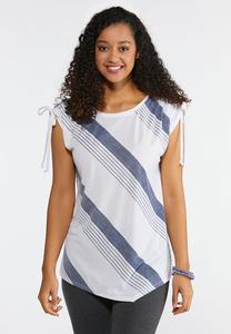 Plus Size Ruched Tie Sleeve Top