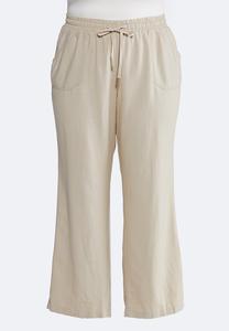 Plus Petite Drawstring Linen Pants