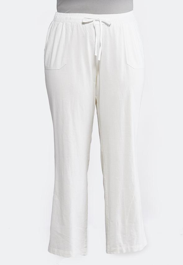 f26c1c00 Plus Petite Drawstring Linen Pants Pants Cato Fashions