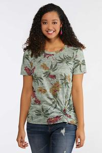 Floral Cinch Front Tee