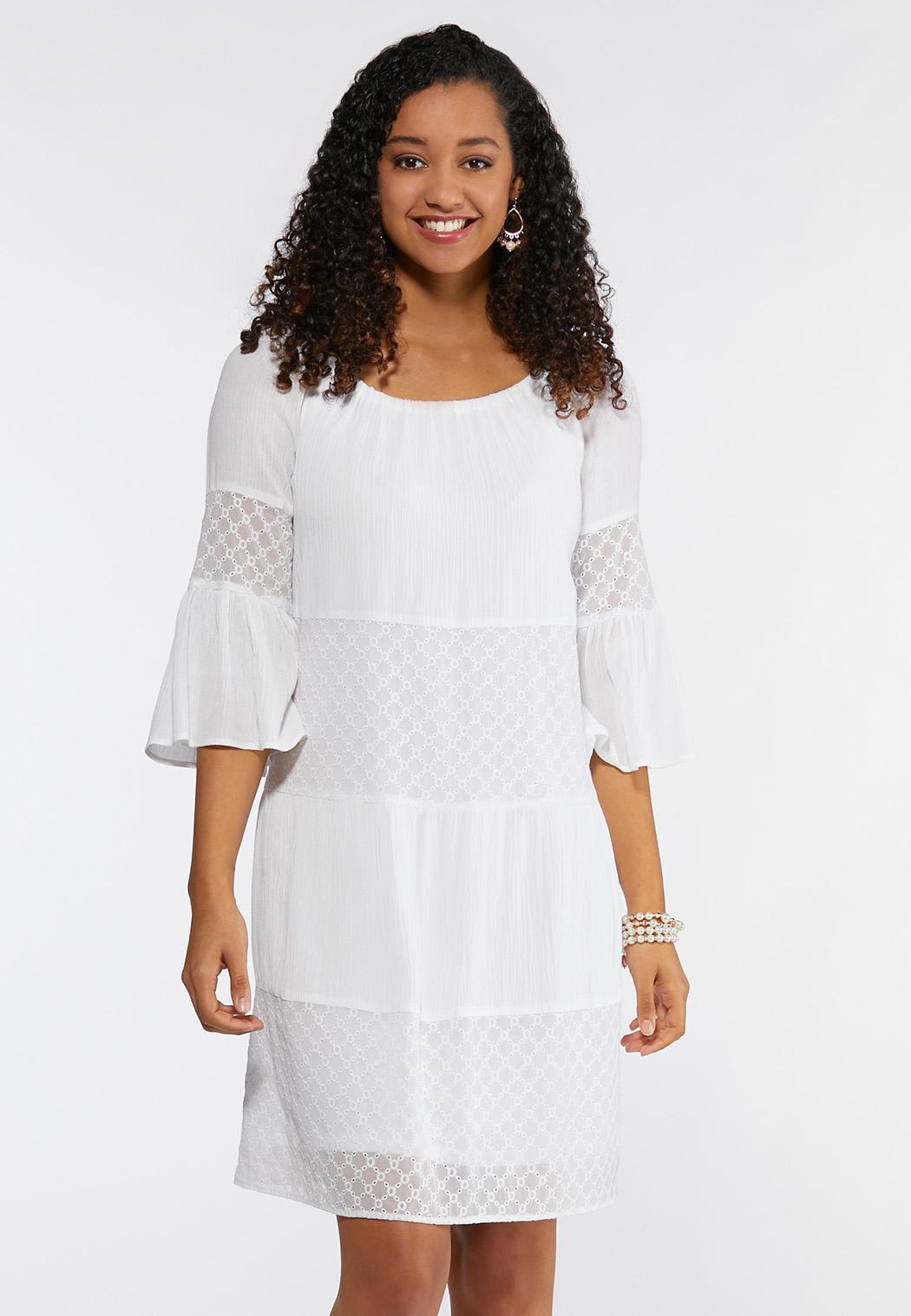 Plus Size Bell Sleeve Eyelet Peasant Dress
