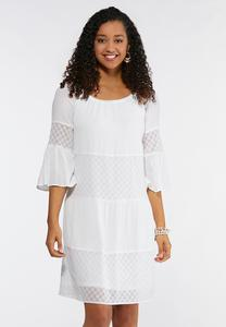 Plus Size Bell Sleeve Eyelet Peasant Dress
