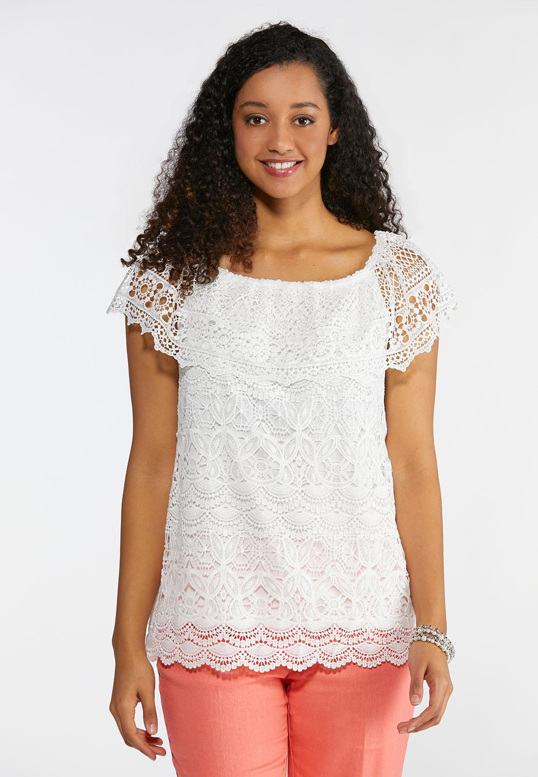 Plus Size Crochet Convertible Top Tops Cato Fashions