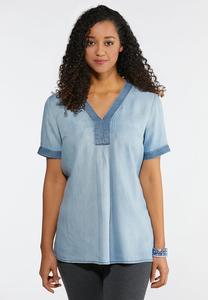 Plus Size Navy Stitch Chambray Top