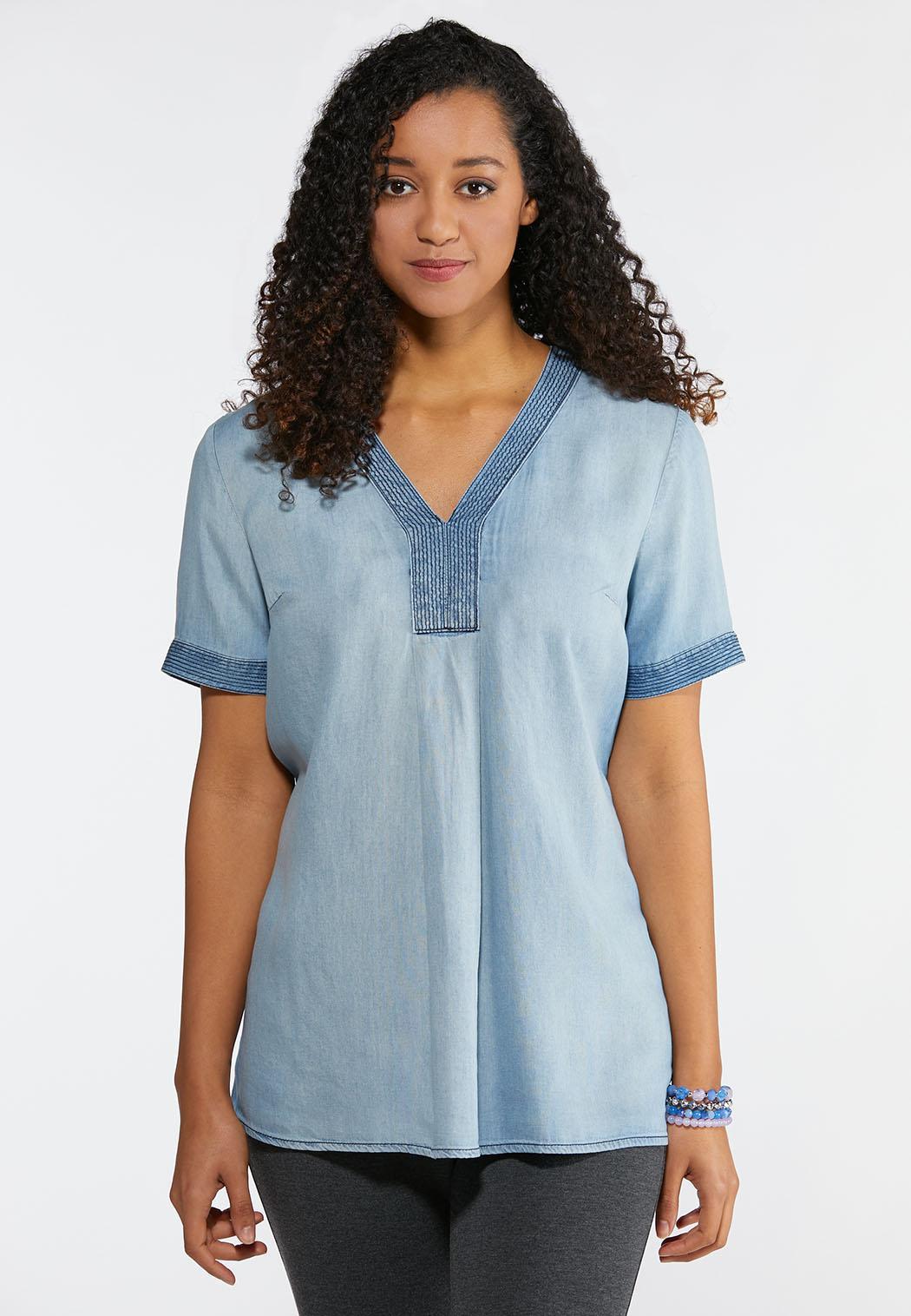 a38030cd Plus Size Women's Denim Shirts
