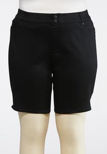 Plus Size Curvy Black Denim Bermuda Shorts