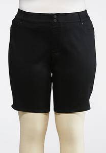 Plus Size Black Denim Bermuda Shorts