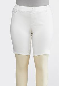 Plus Size Curvy White Denim Bermuda Shorts