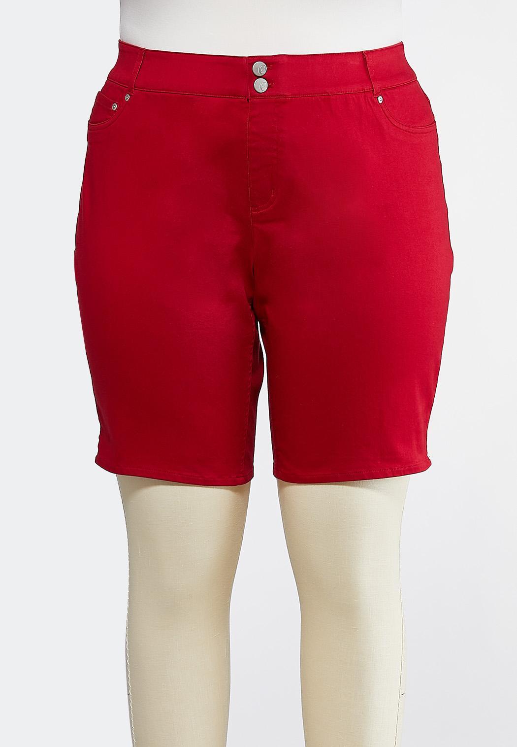 Plus Size Curvy Red Denim Bermuda Shorts
