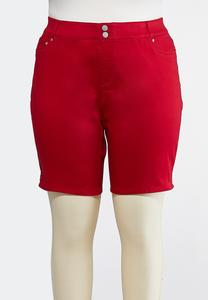 Plus Size Curvy Red Denim Bermuda Shorts