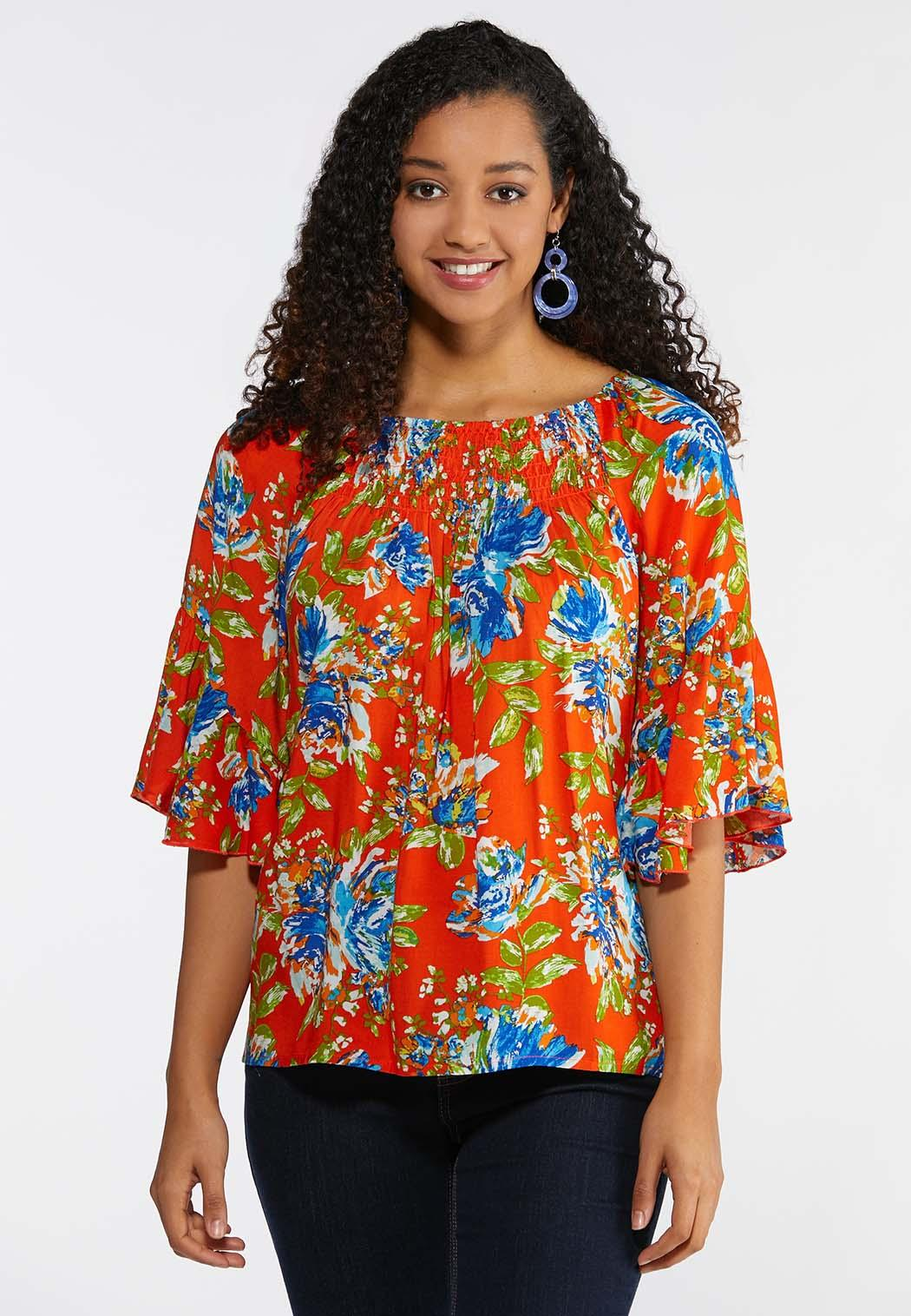 6bf56d591855d Plus Size Smocked Floral Poet Top Shirts   Blouses Cato Fashions