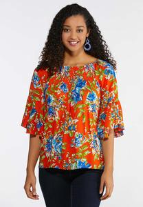 cdef83f72b Plus Size Smocked Floral Poet Top