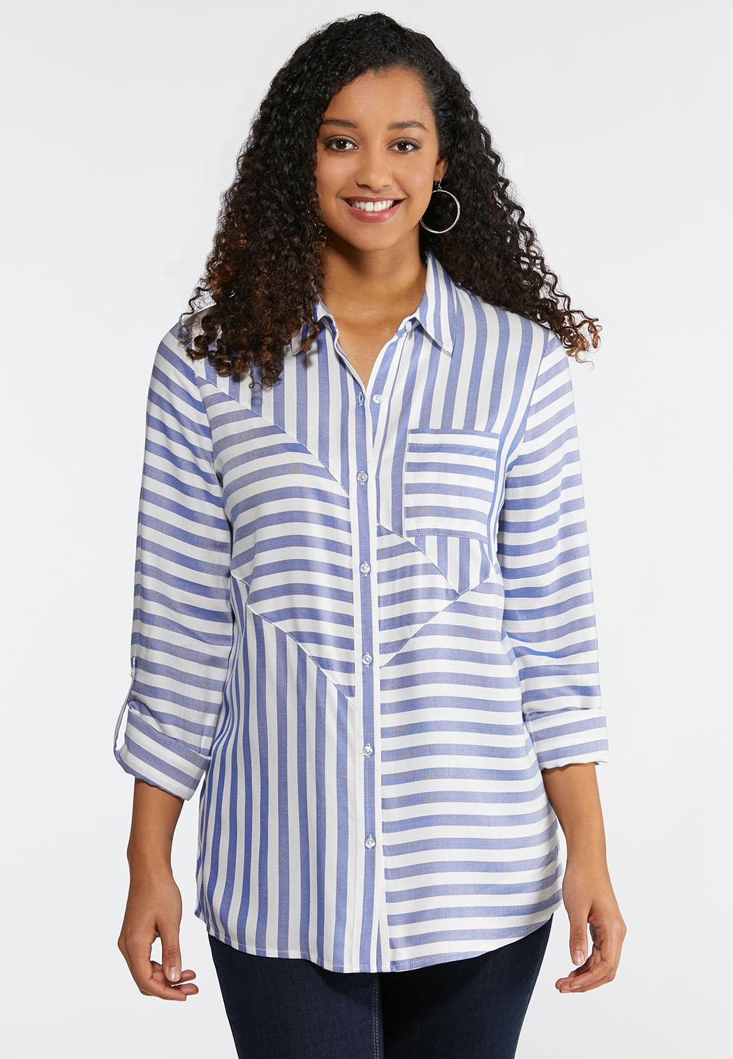 cbd341dfa4 Plus Size Mixed Stripe Boyfriend Shirt Shirts Blouses Cato Fashions