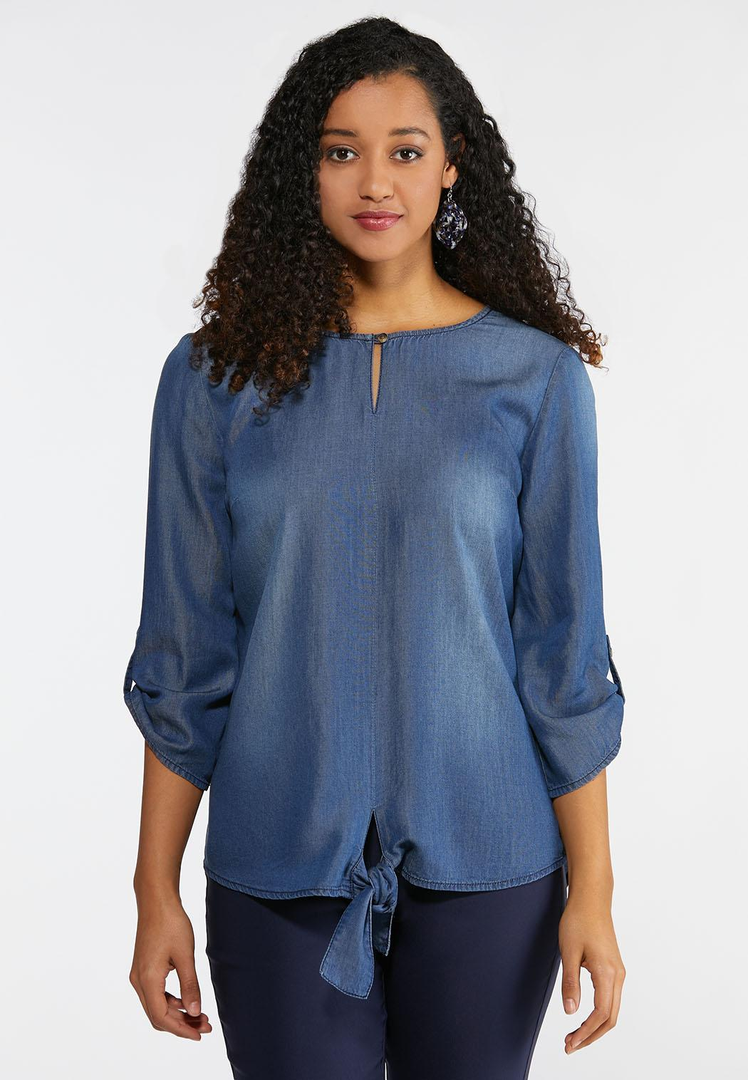 9ed54ffbe55b15 Plus Size Chambray Tie Front Top Shirts Cato Fashions