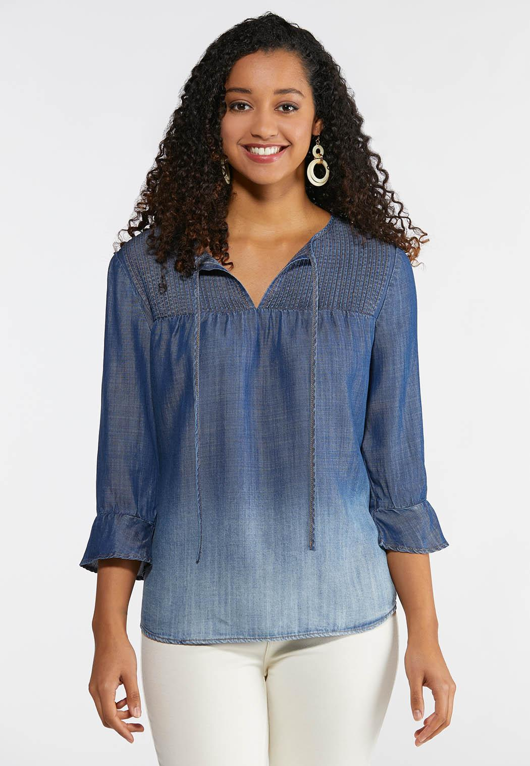 Plus Size Pintucked Denim Top Shirts Cato Fashions