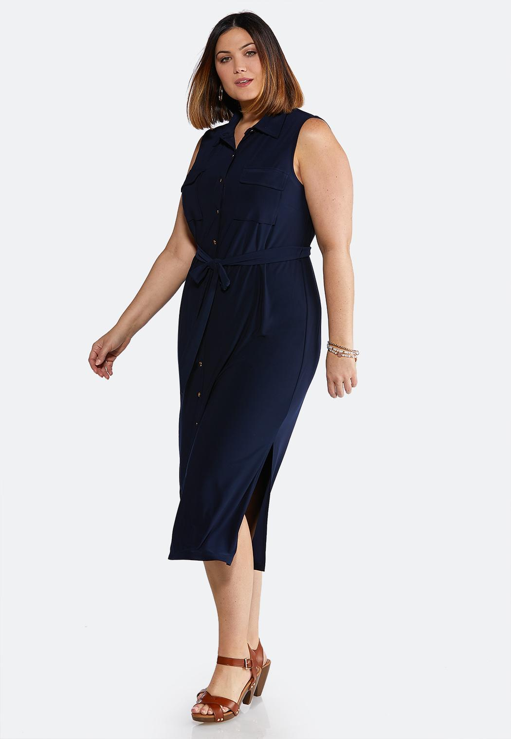Plus Size Navy Tie Waist Midi Dress