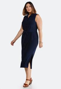 Plus Size Navy Tie Waist Midi Dress