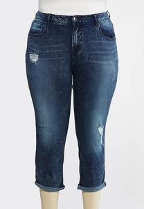 Plus Size Distressed Reversed Wash Jeans