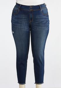 Plus Size Distressed Fringe Hem Jeans