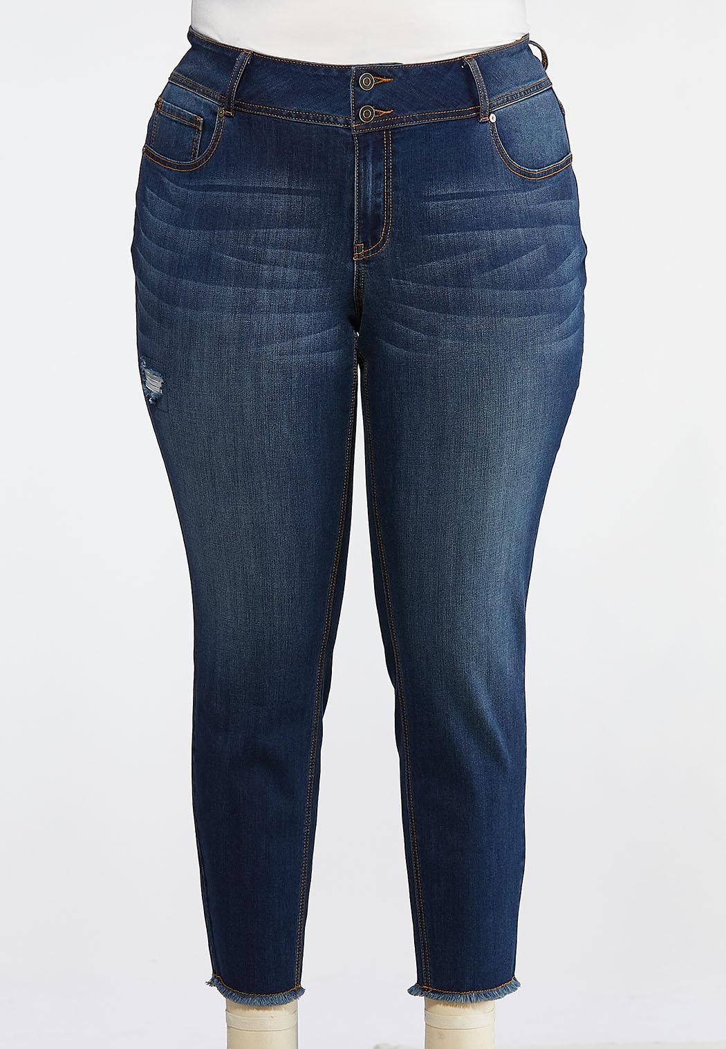 01731c71c8d03 Plus Size Distressed Fringe Hem Jeans Ankle Pants Cato Fashions