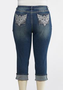 Plus Size Cropped Metallic Embellished Jeans