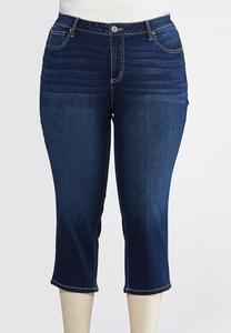 Plus Size Cropped Embroidered Wave Jeans