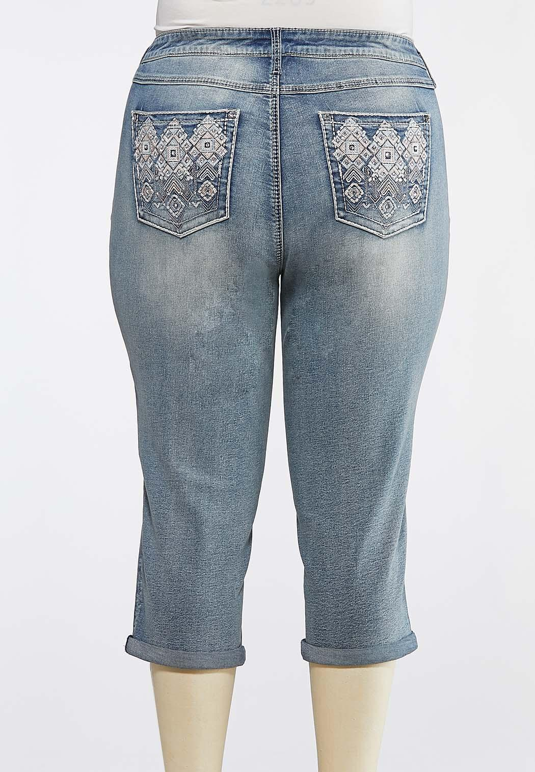 Plus Size Curvy Cropped Geometric Bling Jeans