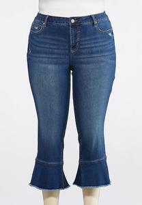 Plus Size Cropped Ruffle Jeans