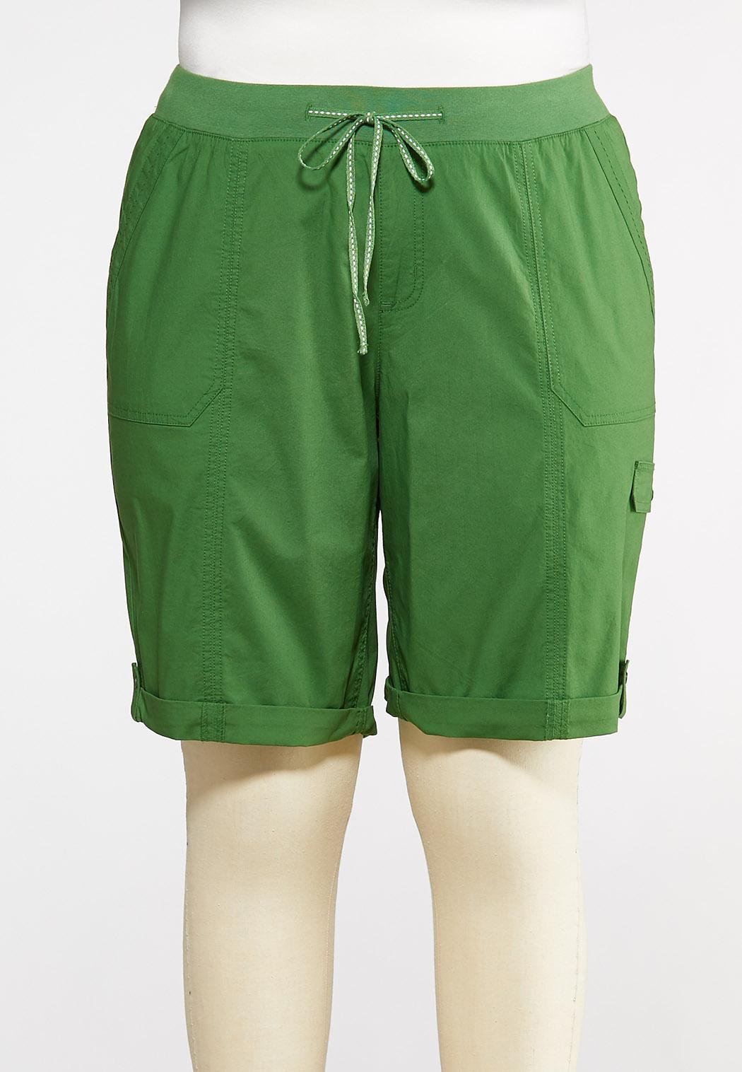 Plus Size Drawstring Cargo Shorts